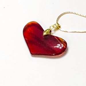 """""""Bottom of My Little Red Agate Heart"""" Necklace"""